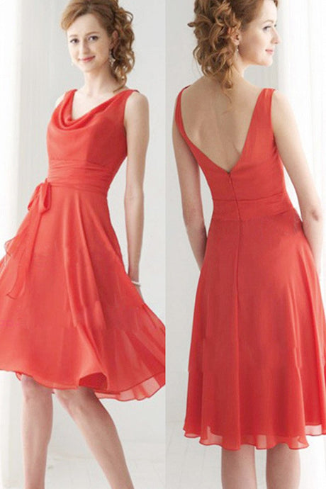 Shining A-line V-neck Knee-length Chiffon Bridesmaid Dress