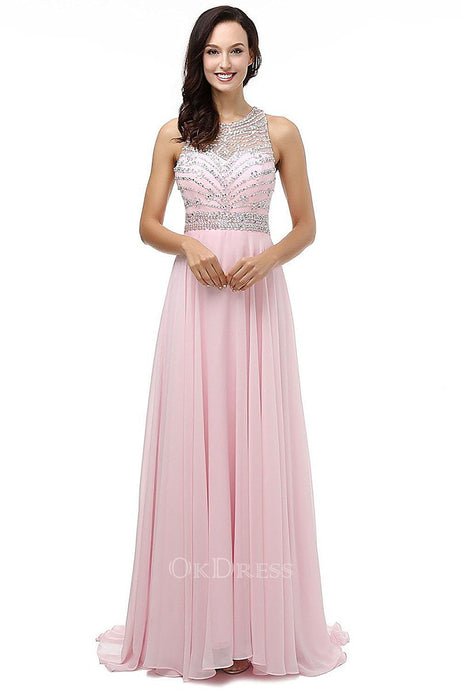 Pink 2019 Outstanding Beaded  Prom Dresses