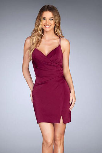 Sexy Sheath/Column Spaghetti Straps V-neck Short Formal Cocktail Dresses