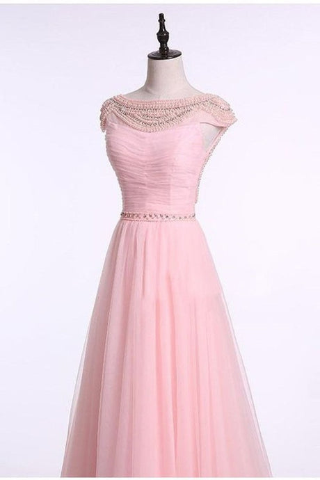Pink Fantastic Beading Cap Sleeves A-line Floor-length Bridesmaid Dresses