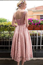 Pink Bateau A-line/Princess Sleeveless Beading Lace up Lace Long Prom Dresses
