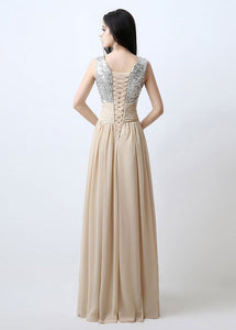 Champagne Splendid A-line V-neck Sequined Chiffon Long Evening Dresses