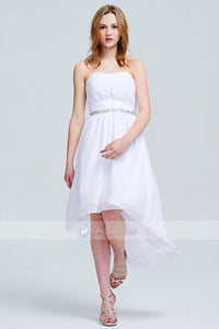 Simple White Strapless Hi-Lo Chiffon Prom Dresses 2019