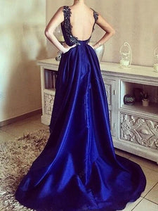 blue A-line Sleeveless Sequin Satin High-low Prom Dresses