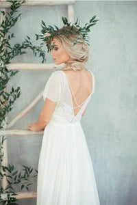 Chic A-line Short Sleeves Illusion Lace & Chiffon Wedding Dresses