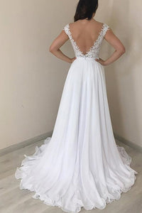 A-Line/Princess  Chiffon Floor-Length Lace Wedding Dresses