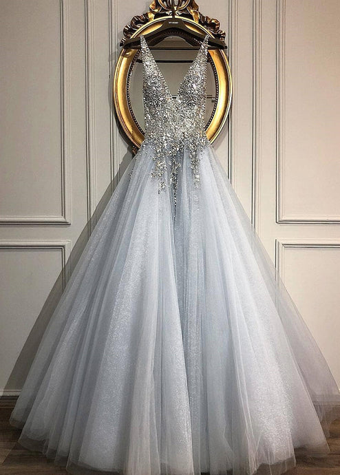 Sleeveless V-neck Tulle Long Wedding Dresses