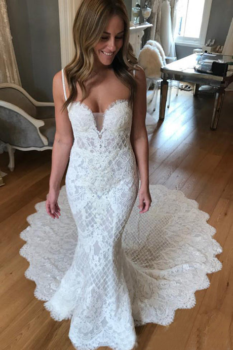 Spaghetti Straps Lace Wedding Dresses