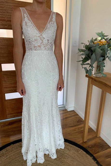 Lace V-neck Open Back Floor-Length  Wedding Dresses 2019