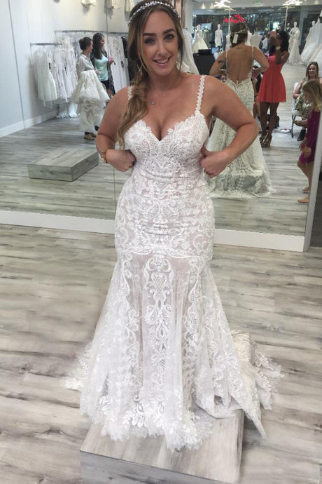 Trumpet/Mermaid Spaghetti Straps  Lace Wedding Dresses