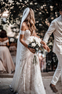 Floor-Length Off-the-Shoulder Lace Wedding Dresses