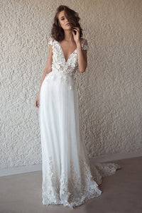 A-Line/Princess Sweep Train Appliques Lace Wedding Dresses
