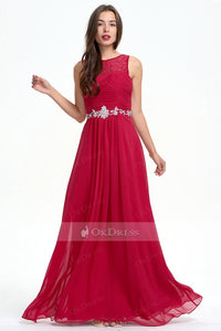 Classic A-line Sleeveless Zipper Red Chiffon Prom Dress