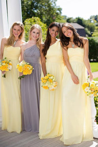 Yellow Impressive A-line Chiffon Sleeveless Floor-length Bridesmaid Dresses