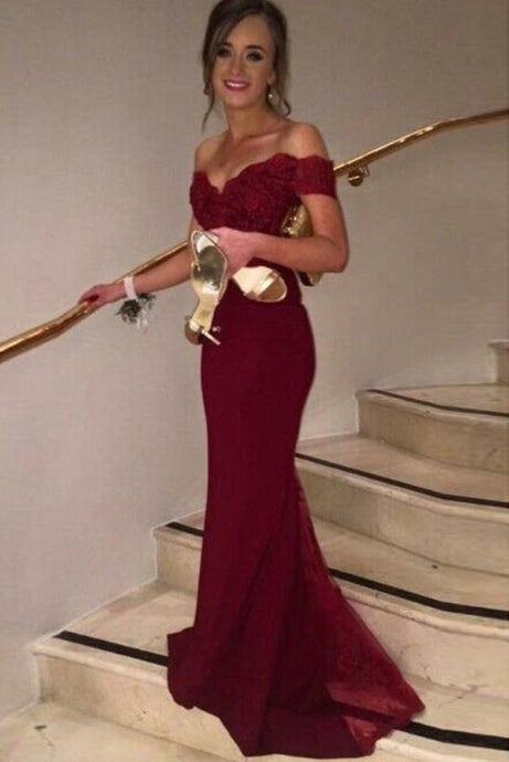 Burgundy Irridescent Trumpet/Mermaid Sweep Train Short Sleeve Lace V-neck Prom Dresses