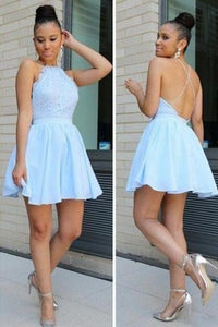Blue Pure A-line Sleeveless Short/Mini Backless Homecoming Dresses