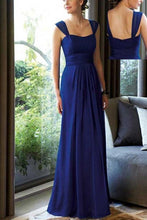 Blue Eye-Catching Sleeveless Pleated Chiffon Bridesmaid Dresses