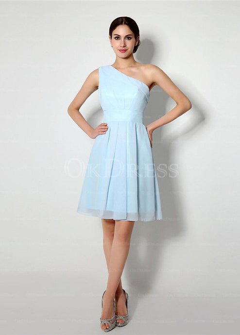 Sky Blue Charming Knee-length One Shoulder A-Line Bridesmaid Dresses