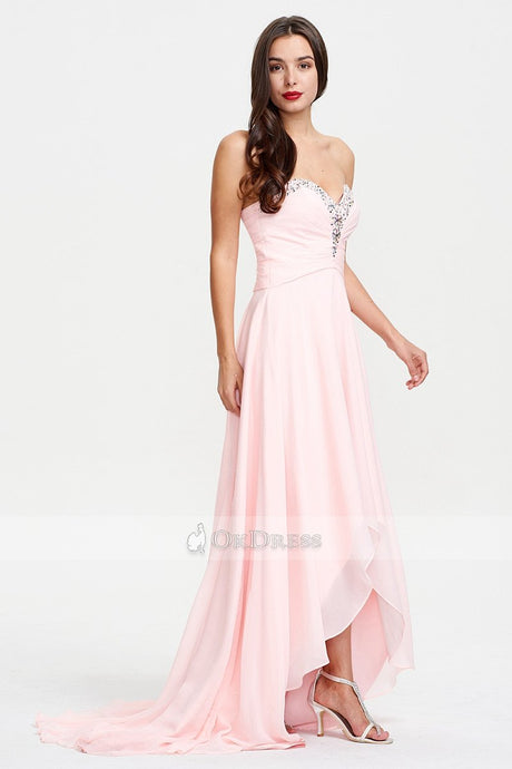 Pink Asymmetrical A-line Sweetheart Sleeveless Candy Pink Chiffon Evening Dress