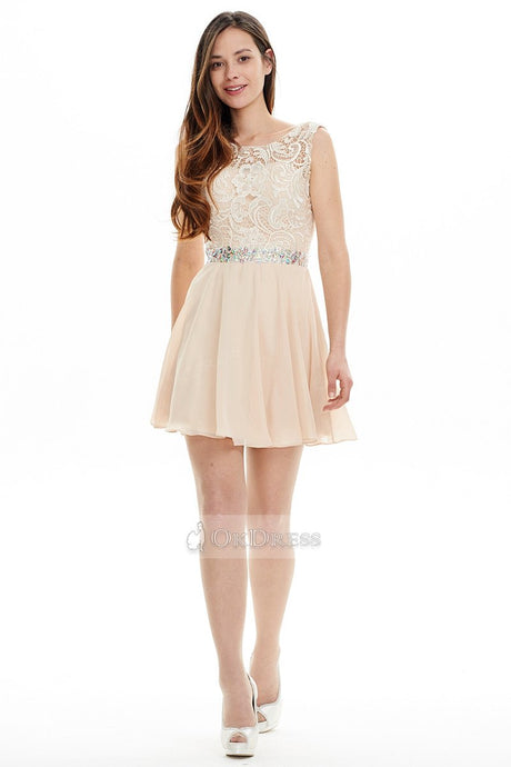 OKdress Charming Short Bateau Chiffon Lace Prom Dresses