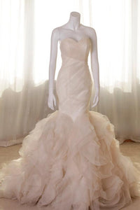 Champagne Fashional Sweetheart Natural Lace-up Trumpet/Mermaid Wedding Dresses