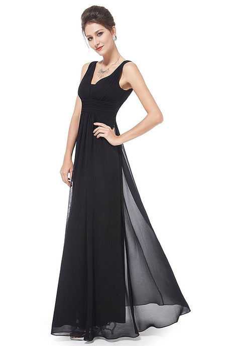 Black Classic A-Line Sleeveless Empire Chiffon Bridesmaid Dress