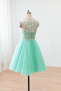 Short/Mini A-line/Princess Lace Tulle Covered Button Cocktail Dresses