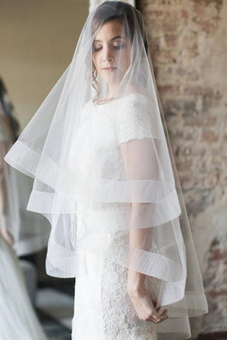 Simple Two Layers Bridal Veils