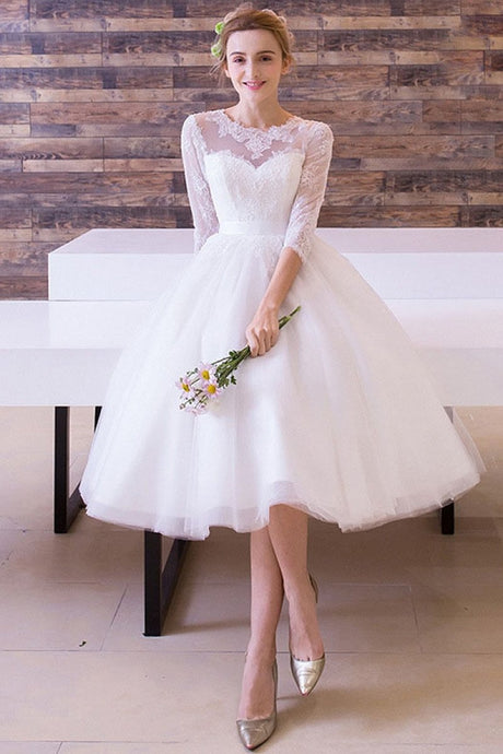 A-line/Princess 3/4 Sleeves Tea-length Bridal Wedding Dresses