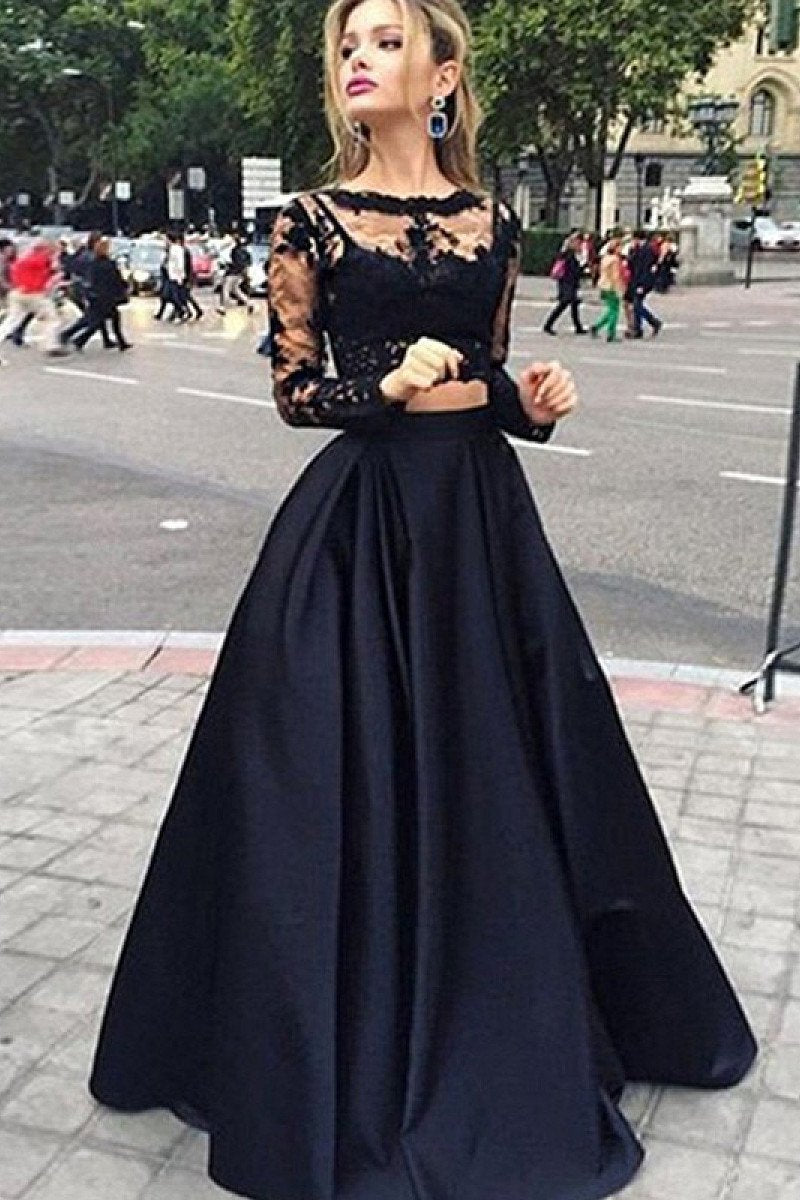 Two-Piece A-line Full/Long Sleeve Lace Applique Black Tulle Prom Dresses