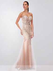 Pink Trumpet/ Mermaid Sweetheart Strapless Beading Long Formal Prom/Evening Dresses