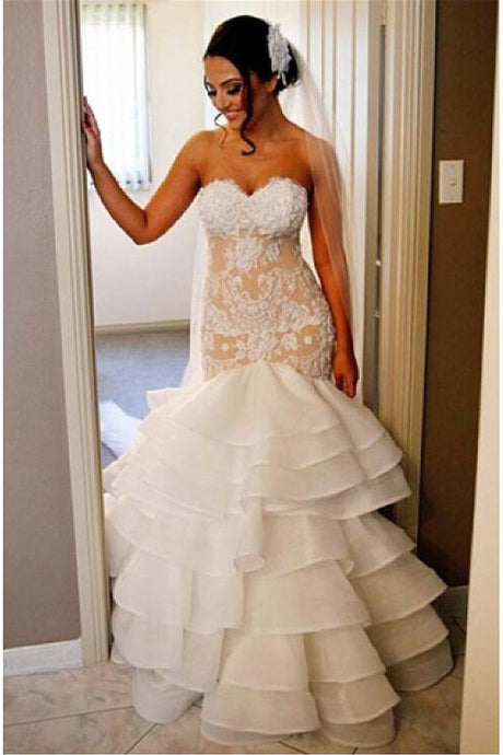 White Delicate Natural Applique Sleeveless Sweep Train Wedding Dresses