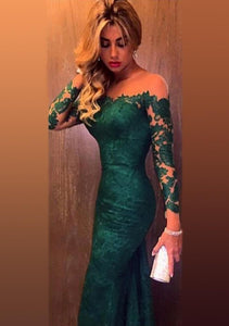 Green Magnificent Sheath/Column Bateau Natural Chapel Train Prom Dresses