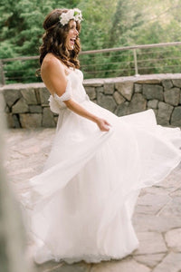 White A-line Sleeveless Chiffon Off-the-shoulder Wedding Dresses