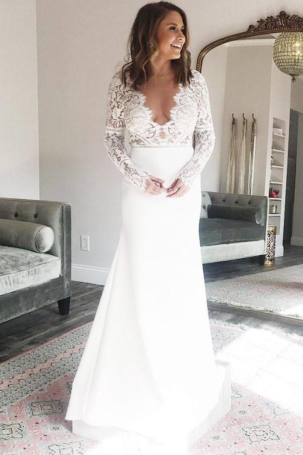 Sexy A-Line/Princess Lace Floor-Length Long Sleeves Wedding Dresses