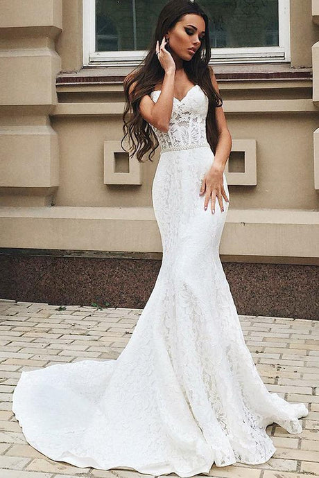 Trumpet/Mermaid Lace Floor-Length Sleeveless Wedding Dresses with  Beading