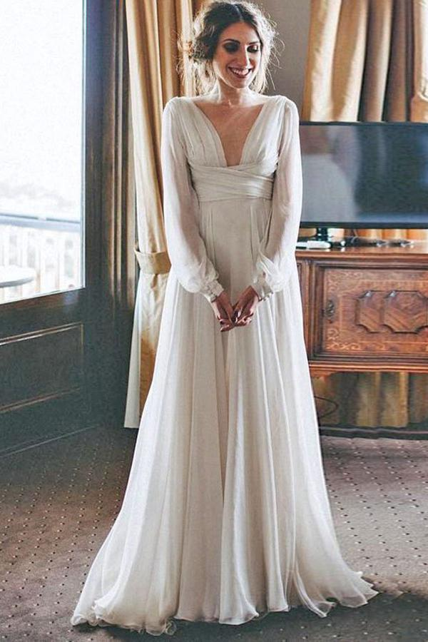 Tulle Floor-Length Long Sleeves Wedding Dresses