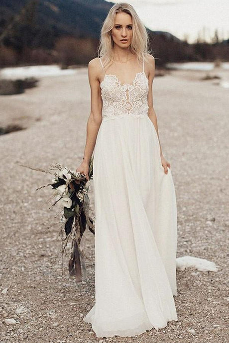 Elegant A-Line/Princess Spaghetti Straps Lace  Sleeveless Tulle Wedding Dresses