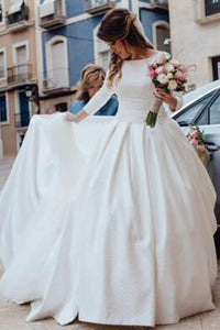 A-Line/Princess Satin 3/4 Sleeves Off-the-Shoulder Floor-Length Wedding Dresses