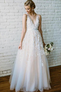A-Line/Princess V-neck Tulle  Sleeveless Appliques Lace Floor-Length Wedding Dresses