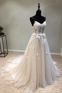 Spaghetti Straps Appliques Lace Sweetheart Sleeveless Tulle Wedding Dresses