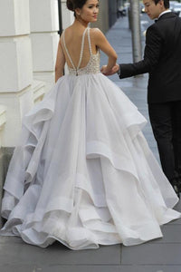 A-Line/Princess  Sweetheart Beading Chiffon Wedding Dresses