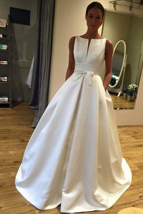 A-Line/Princess Sweetheart Sleeveless Satin Floor-Length Wedding Dresses with Bow(s)