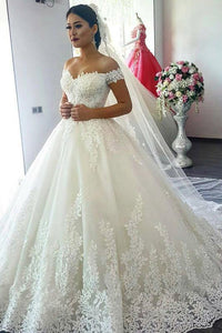 Elegant A-Line/Princess Lace Off-the-Shoulder Chapel Train Wedding Dresses