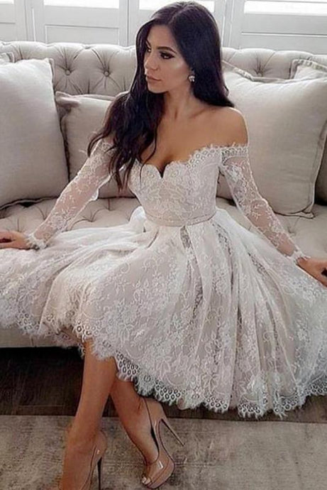 A-Line/Princess Lace Off-the-Shoulder Short Wedding Dresses