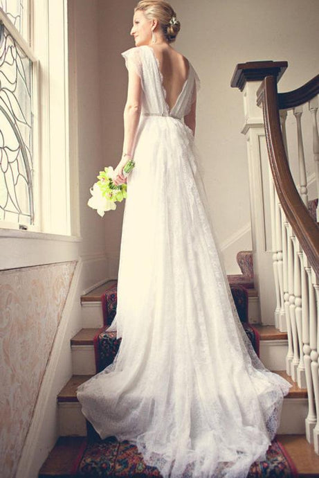 A-Line/Princess Floor-Length  Sleeveless Lace Wedding Dresses