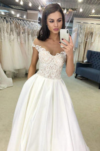 White Sleeveless  A-Line Off-the-Shoulder Satin Long Wedding Dress