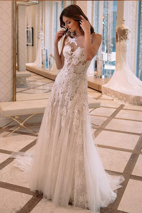 A-Line/Princess Scoop Neck Floor-Length Tulle Lace Wedding Dress