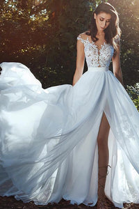 A-Line/Princess Tulle Sleeveless Appliques Lace Wedding Dresses