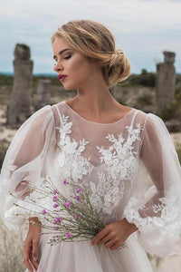 Tulle  Scoop Neck Long Sleeves Floor-Length Wedding Dresses